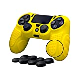 CHINFAI PS4 Controller DualShock 4 Skin Grip Anti-slip Silicone Cover Protector Case for Sony PS4/PS4 Slim/PS4 Pro Controller with 8 Thumb Grips (Yellow) (Color: Yellow)