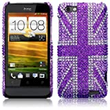 HTC One V Purple Union Jack Diamante Case / Cover / Shell / Shield Part Of The Qubits Accessories Rangeby Qubits