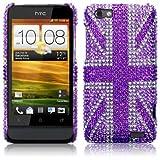 HTC One V Purple Union Jack Diamante Case / Cover / Shell / Shield Part Of The Qubits Accessories Rangeby Qubits