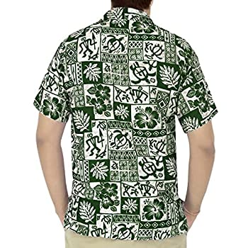 La Leela Hawaiian Shirt For Men Short Sleeve Front-Pocket Vintage Flora Green
