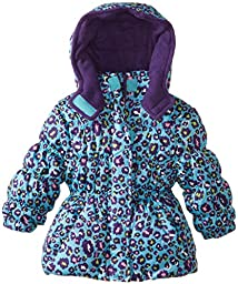 Pink Platinum Baby Girls\' Multi Color All Over Cheetah Print Puffer, Turquoise, 24 Months