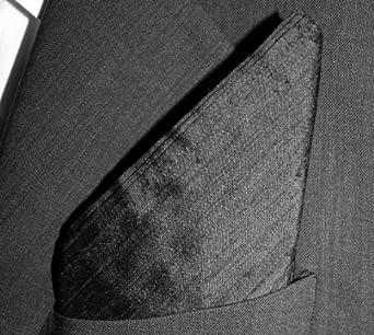 "Black Dupioni Silk Pocket Square - Full-Sized 16"" x 16"""