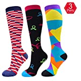 EHbee 3 Pairs Compression Socks for Women & Men 15-20 mmHg, Perfect Compression Stockings for Nurse,Running, Maternity Pregrancy, Flight, Travel, Medical,Sport. (Assorted2, S/M)