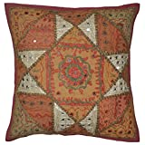 Jaipuri Handmade Mirror Patchwork Design Indian Embridery Single Cushion Cover 16x16 Inches