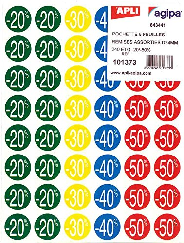 AGIPA Lot de 10 paquets de 240 Pastilles remises (-20% à -50%), diamètre 37,5 mm assorties