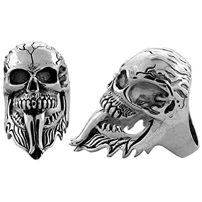Sterling Silver Cracked Gothic Biker Skull Ring, (43 mm) wide, available sizes R to Z+2