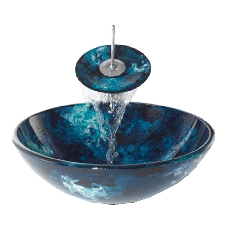 Bathroom Artistic Blue Glass Vessel Vanity Sink
