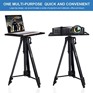 Projector Stand,Laptop Stand,Aluminum Multifunction Tripod Stand with Tray Adjustable Tripod Laptop Projector Stand, 20 to 55 Universal Device Stand Perfect for Stage or Studio Use (Tamaño: 55in)