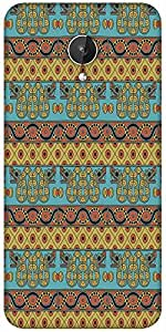 Snoogg Aztec Pattern Mustard Designer Protective Back Case Cover For Micromax Canvas Spark Q380