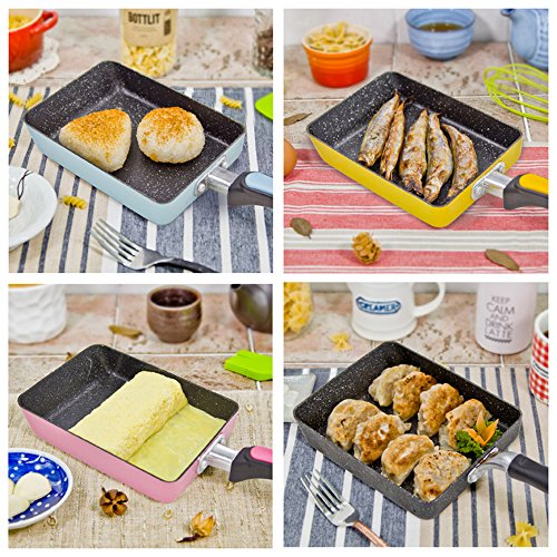 Tamagoyaki Japanese Omelette Pan / Egg Pan, - Colour Collection / Hard Anodized Non-Stick Coating Carbon Steel Pan (PFOA Free) Rectangle Frying Pan Mini Frying Pan (Light Blue)