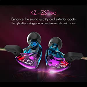 iwish KZ Latest Model ZST Hifi Balanced Armature +Dynamic Hybrid Dual Driver Headphones Bass Headset In-ear Earphones with Detachable Cable (Colorful with Mic) (Color: Colorful with Mic)