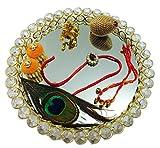 Krishna Theme Rakhi Platter For Brother- Rakhi Poojs Thali