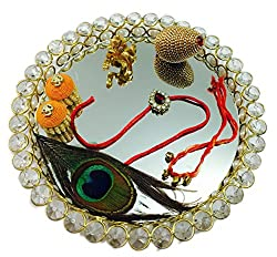 Krishna Theme Rakhi Platter For Brother- Rakhi Poojs Thali