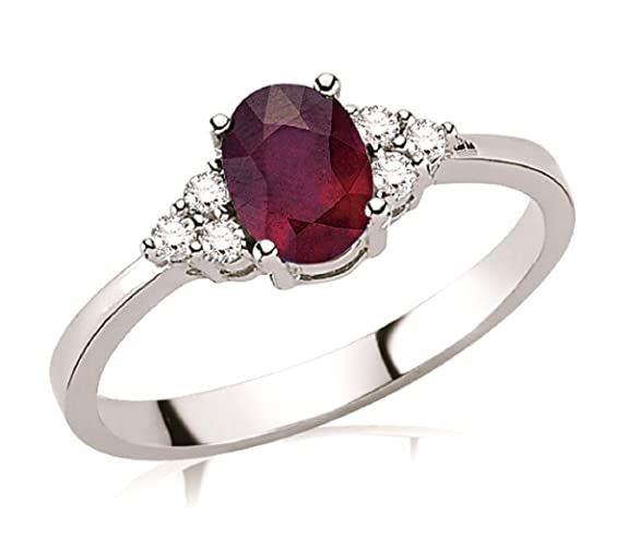 1.01 Carats 18k Solid White Gold Ruby and Diamond Engagement Wedding Bridal Promise Ring Band