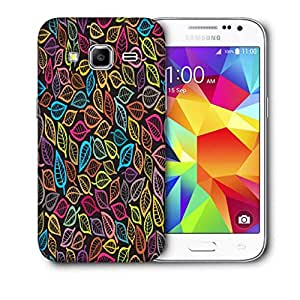 Snoogg Pink Leaves White Pattern Printed Protective Phone Back Case Cover For Samsung Galaxy Core Plus G3500