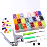 Swpeet Hight Quality 384Pcs 24 Colors Plastic T5 Snap Buttons with Snaps Pliers Set, Plastic Snaps Hand Tool Snaps Fastener Perfect for Clothes, Cloth Diapers with Organizer Storage Containers
