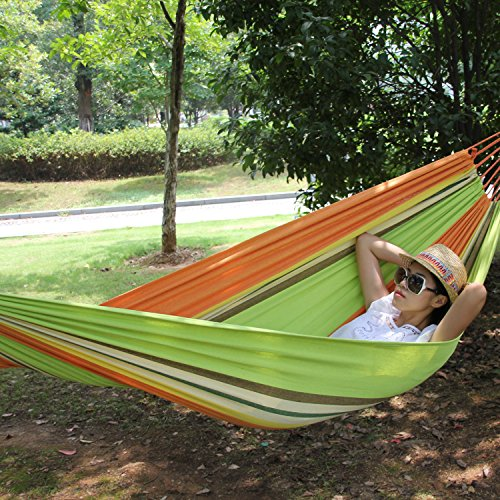 Hewolf Beautiful Hammock Camping Stripe With 2 Hanging Ropes With A