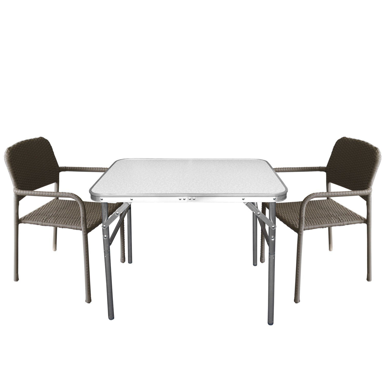 3tlg. Bistrogarnitur Gartengarnitur Gartentisch Klapptisch 75x55x60cm Tisch inkl. 2 Stapelstühle mit Polyrattanbespannung in Taupe – Campingmöbel / Gartenmöbel Set günstig online kaufen