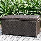 Wicker Lane ORI003-A Outdoor Espresso Wicker Patio Furniture Storage Deck Box