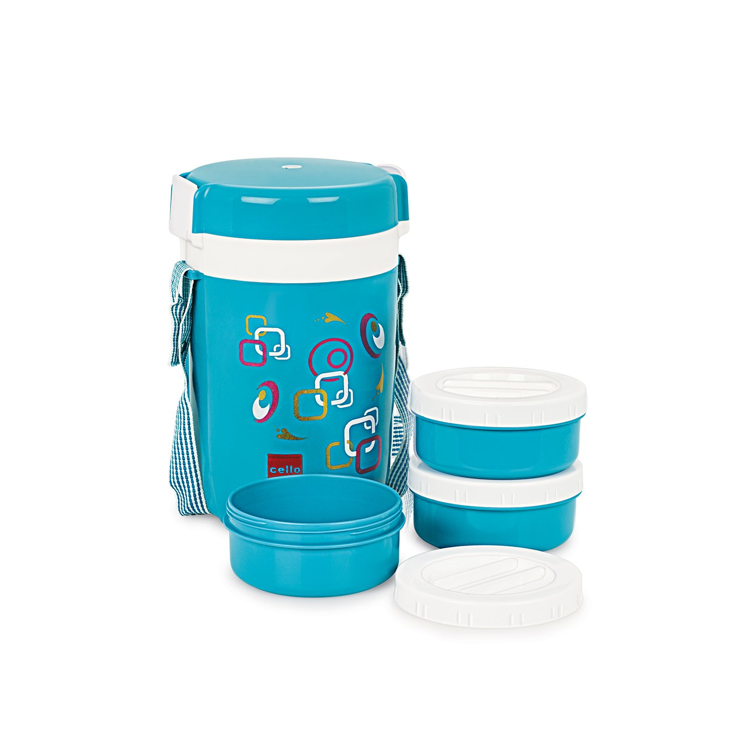 Cello Super Executive Insulated 3 Container Lunch Carrier, Blue low price