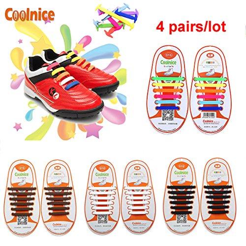 Coolnice® 4 accoppiamenti lacci elastici per i bambini Elastic Stretch Silicon impermeabile ambientali sicuro pulire divertente fai da te 4 colori 4 * 12pcs