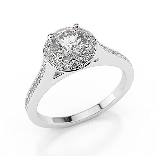 1 CT Halo Diamond Ring Round Shaped Stone with Accents H-I/I1-I2 14ct White Gold