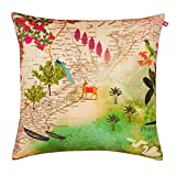 "India Circus Wanderlust Poly Velvet Cushion Cover - 20""x20"", Multicolour"