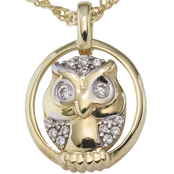 Owl Pendant in 333 yellow gold partially Rhodium-Plated Oval With White Zirconia Stud