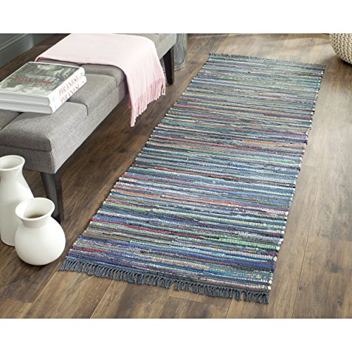 Safavieh Rag Rug Collection RAR121C Hand Woven Ink and Multi Cotton Runner, 2 feet 3 inches by 6 feet (2'3