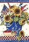 Patriotic Sunflowers Garden Flag