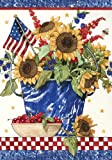 Toland Home Garden Patriotic Sunflowers Garden Flag 110048