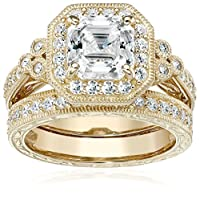 Plated Sterling Silver Swarovski Zirconia Asscher-Cut Antique Ring Set (4.5 cttw) from Amazon Collection