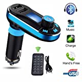 Lonchan Wireless Bluetooth FM Transmitter Mp3 Music Player Hands-free Car Kit Dual USB Charger Support SD Card with 3.5mm Audio for iPhone, iPad, Samsung Galaxy, Note, HTC,LG,other Smart phones,Blue