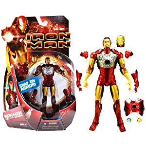 """Hasbro Year 2008 Marvel Movie Series """" IRON MAN """" 6 Inch Tall Action Figure - IRONMAN PROTOTYPE with Snap-On Helmet, Chest Plate, Shoulder Pads, Gloves and 2 Arc Chest Light"""