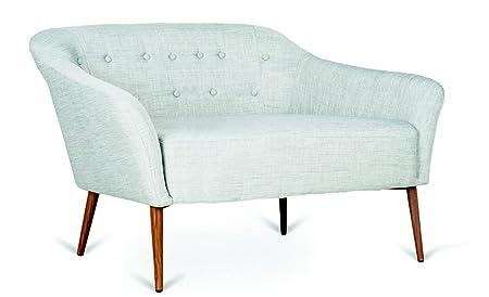 Zweisitzer-Sofa. Vega. Metallrahmen. Graue Farbe. Abmessungen: L 134 P 75 76 Sitzhöhe 44.