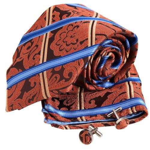 H5094 Orange Paisleys Luxury Presents For Him Silk Ties Cufflinks Hanky Set 3PT By Y&G