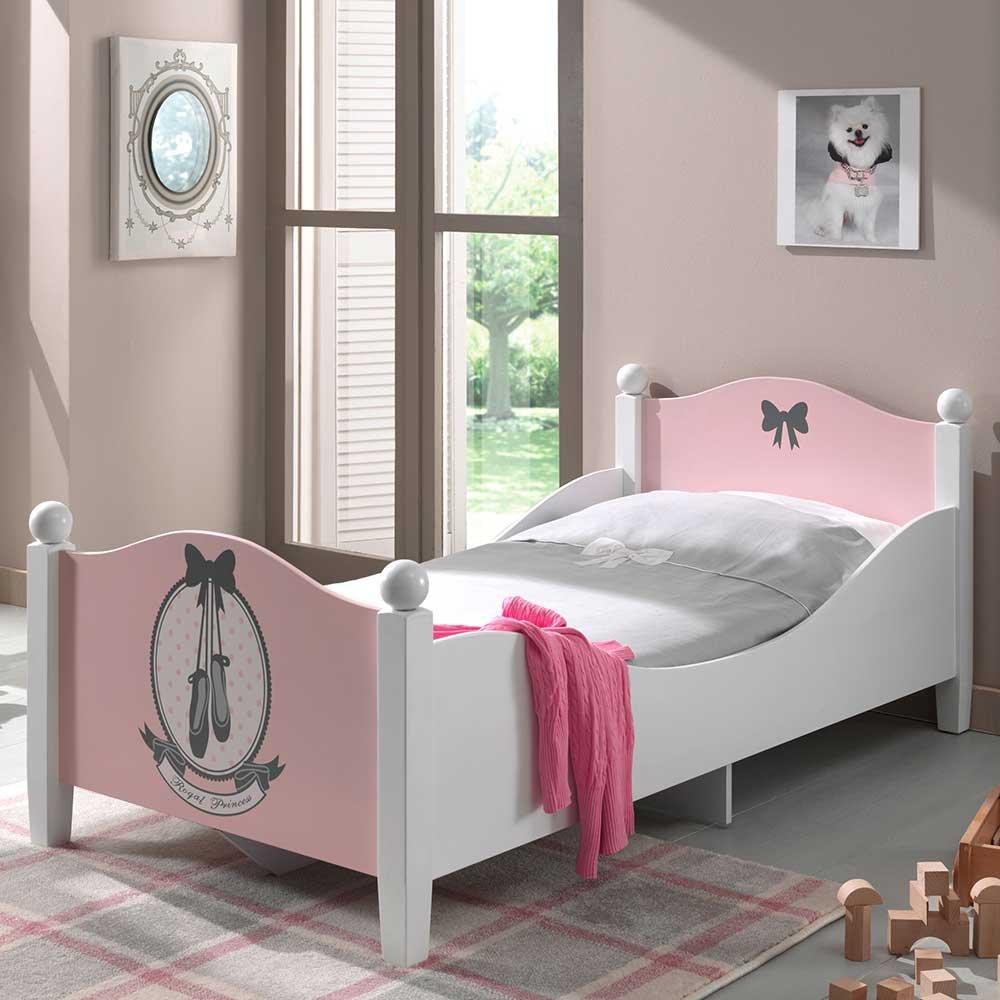 Mädchenbett in Weiß Rosa 70×140 Pharao24