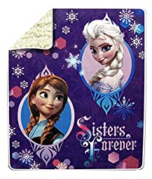 Disney\'s Frozen Anna & Elsa Microvelvet Sherpa Throw 40\