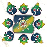 999Store Handmade Multicolour Wooden Rangoli Diwali Decorative Item, Home Décor Green Blue
