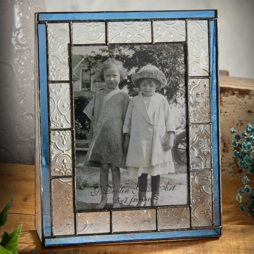 J Devlin Pic 159-57V 5x7 Vertical Stained Glass Photo Picture Frame Clear Vintage Texture Trimmed in Pale Blue Holds 5x7 Portrait Photo (Pic Frames 5x7 compare prices)