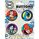 ATA-BOY DC Comics Characters Button-Pin (4-Pack)