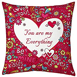 Valentine Gifts for Boyfriend Girlfriend Love Printed Cushion 12X12 Filled Pillow Pink You are My Everything Gift for Him Her Fiance Spouce Birthday Anniversary Everyday Gift