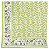 "100% Cotton Block Print Green & Pink Floral 54""x90"" Tablecloth - Orchard Lime"