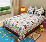 Home Candy Colorful Elephants Kids Cotton Double Bedsheet with 2 Pillow Covers - Multicolor