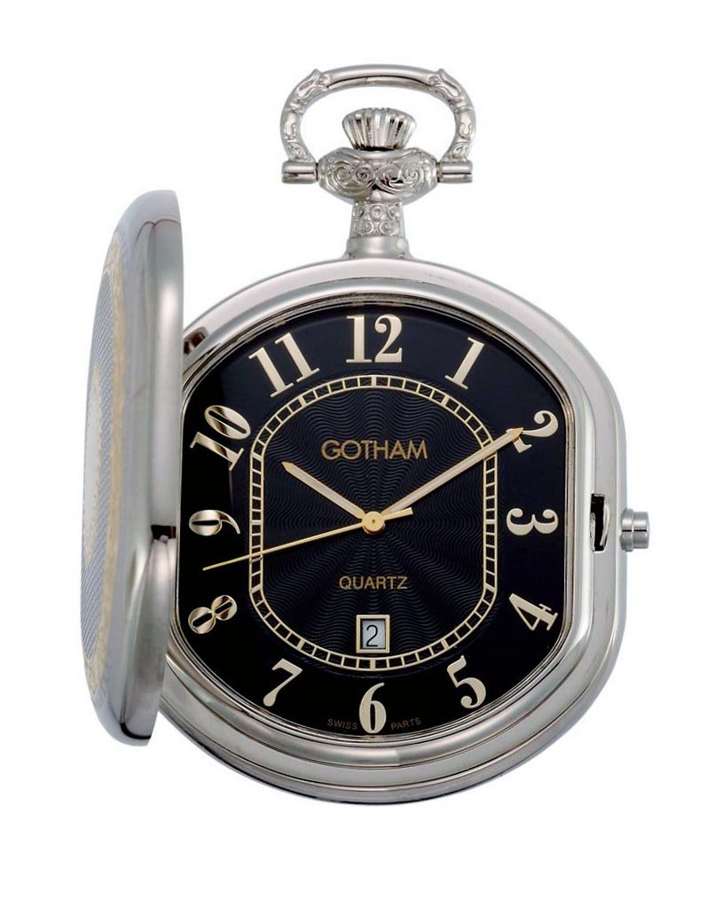Мужские карманные часы Gotham Men's Two-Tone Swiss Quartz Date Movement Pocket Watch # GWC14044T