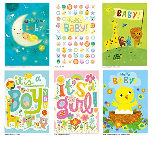 Peaceable Kingdom Card Set for New Babies - Box of 12 Cards and Envelopes