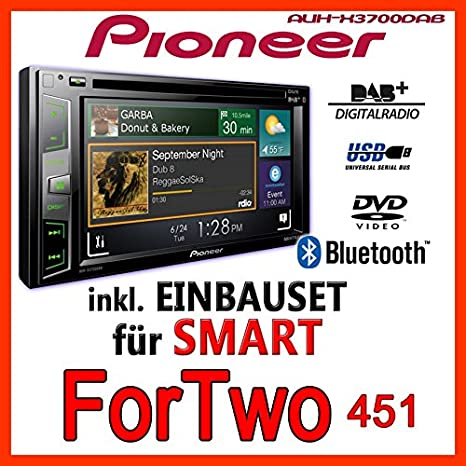Smart forTwo 2007-2010 pioneer aVH-x3700DAB 2-dIN pour autoradio multimédia avec bluetooth/dAB +, dAB et antenne avec applications
