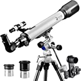 Telescope 70EQ Refractor Scope-70mm Aperture and 700mm Focal Length-Come with a Smartphone Mount (Tamaño: 70EQ)