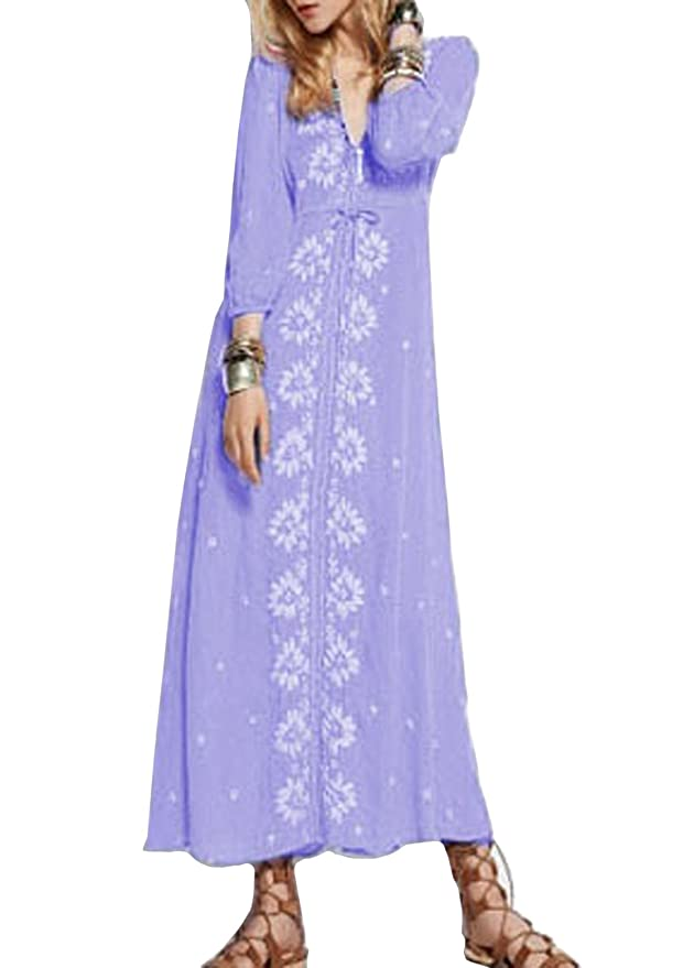 SheIn Women's Purple V Neck Embroidered Maxi Dress