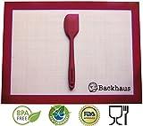 Tapis-de-Cuisson-Spatule-en-Silicone-Anti-Adhrent-Backhaus-Feuille--Ptisserie-Rutilisable-de-Qualit-Pro-OFFRE-LIMITE-Spatule-assortie-offerte-Garantie--Vie-Standard-40x30cm-Rouge